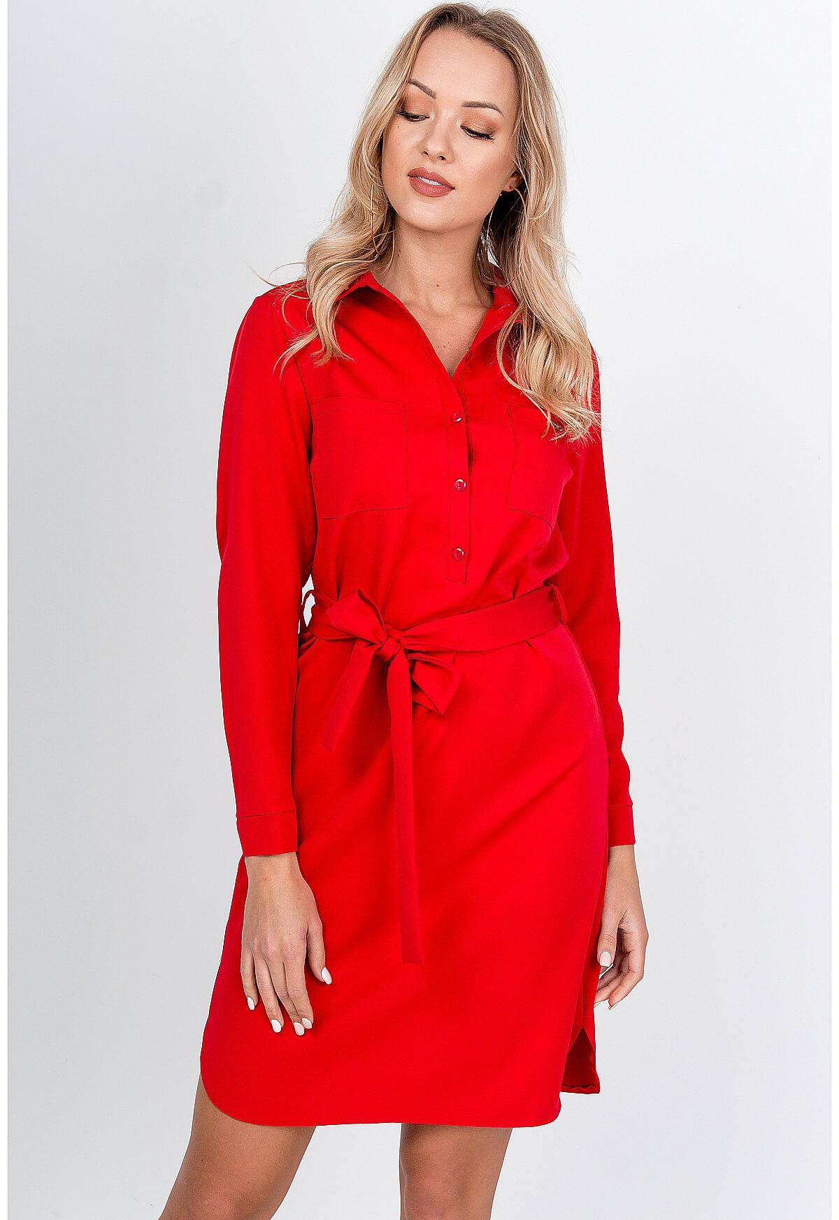 Krátke červené šaty so zapínaním gombíky - S