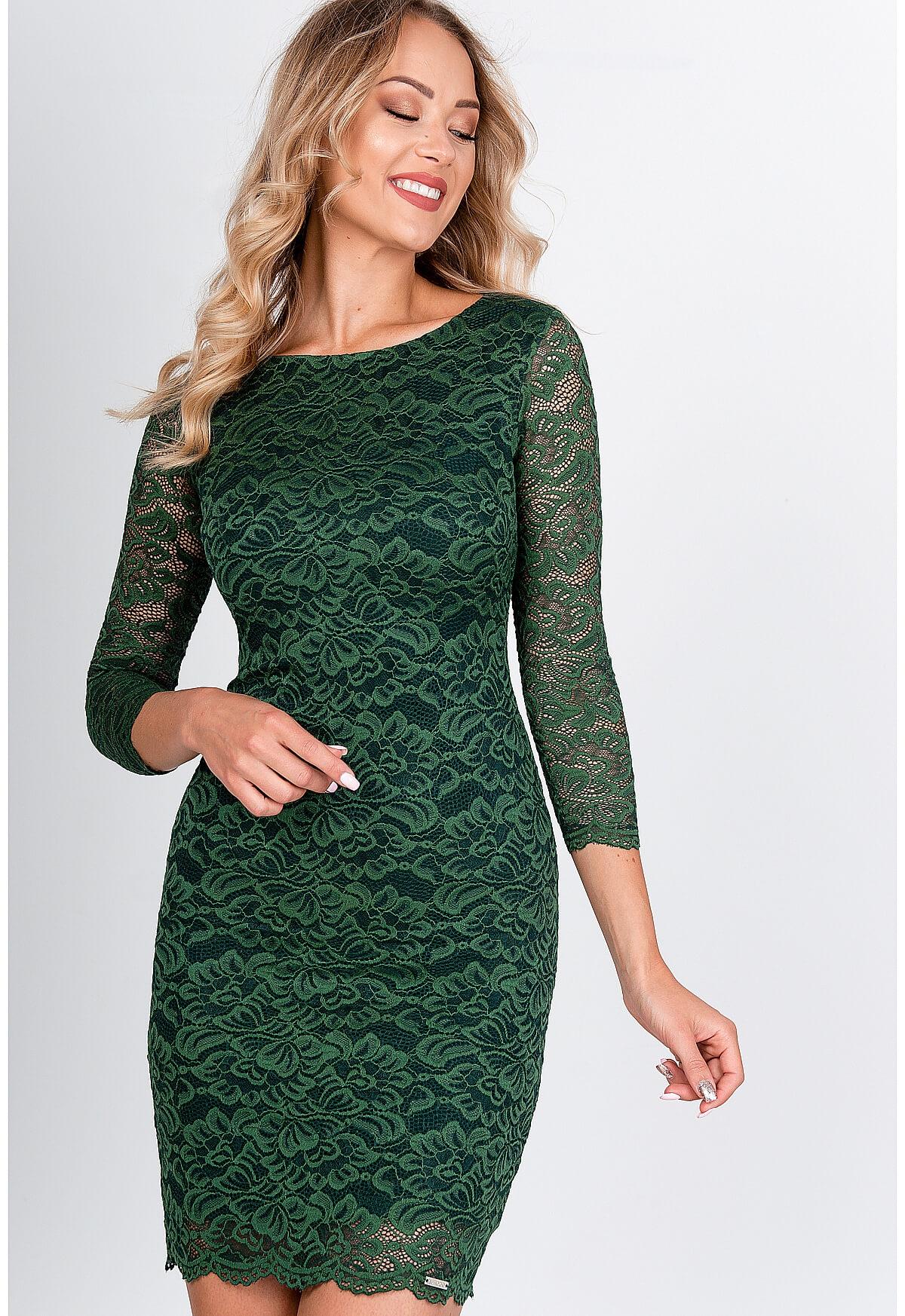 Krátke čipkované šaty zelenej farby - M