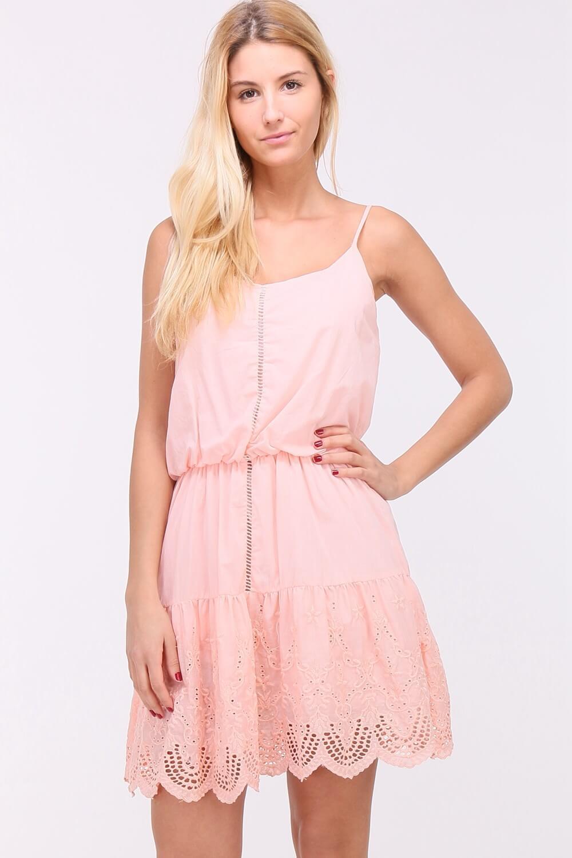Krátke letné ružové šaty na ramienkach - L