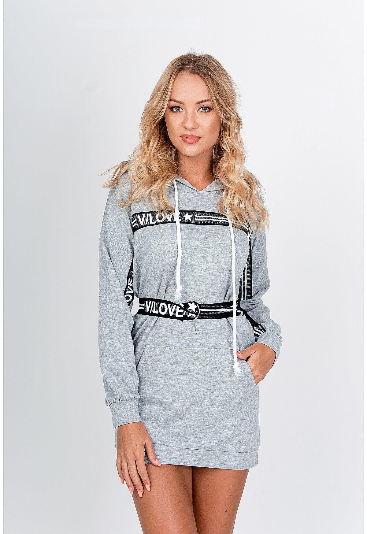 Krátke sivé šaty s dlhým rukávom