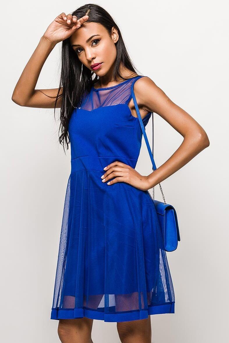 Krátke modré spoločenské šaty bez rukávov