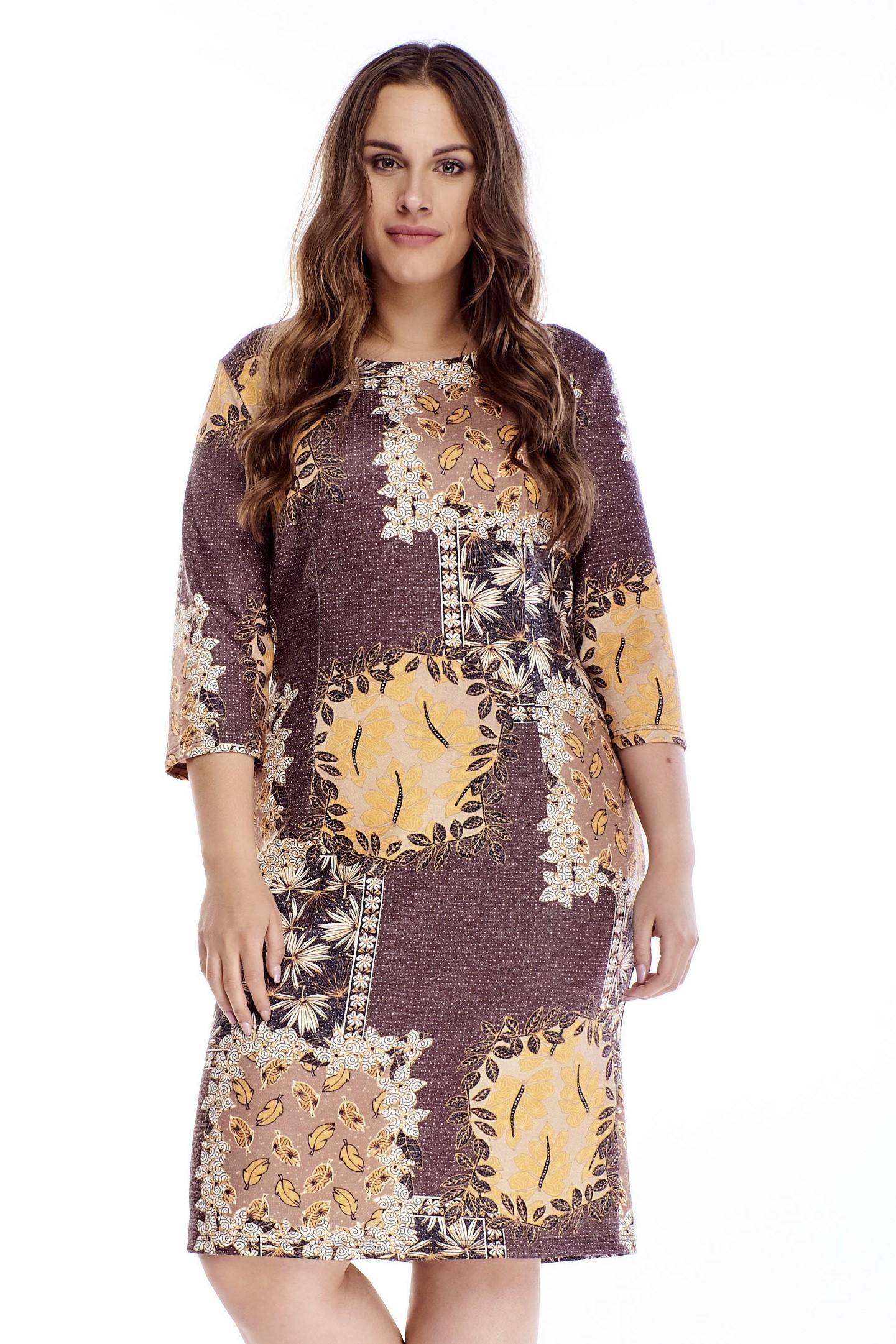 Krátke vzorované jesenné šaty - 44