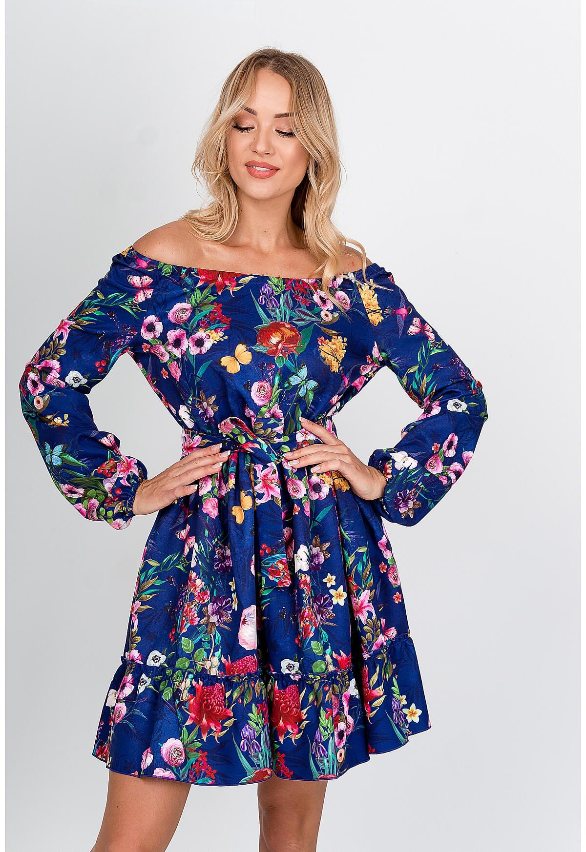 Kvetinové modré šaty so zúženým pásom - M