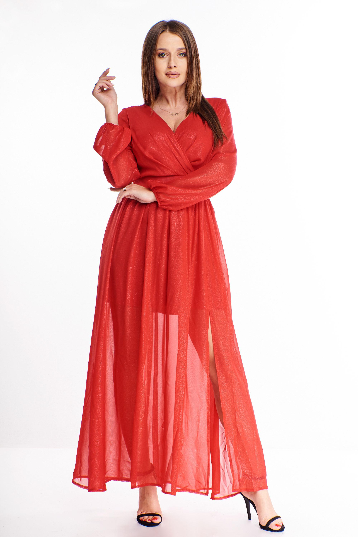 Maxi šaty s mašličkou na chrbte v červenej farbe - 38
