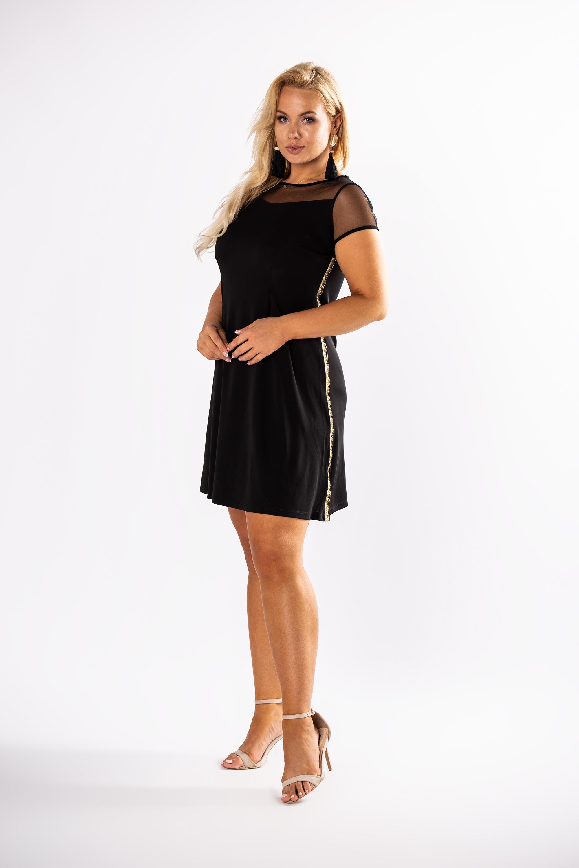 Čierne letné šaty s priehľadnými rukávmi - 36