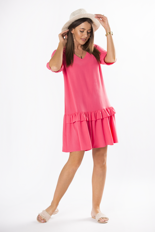 Červené lichobežníkové šaty s volánikom - 42