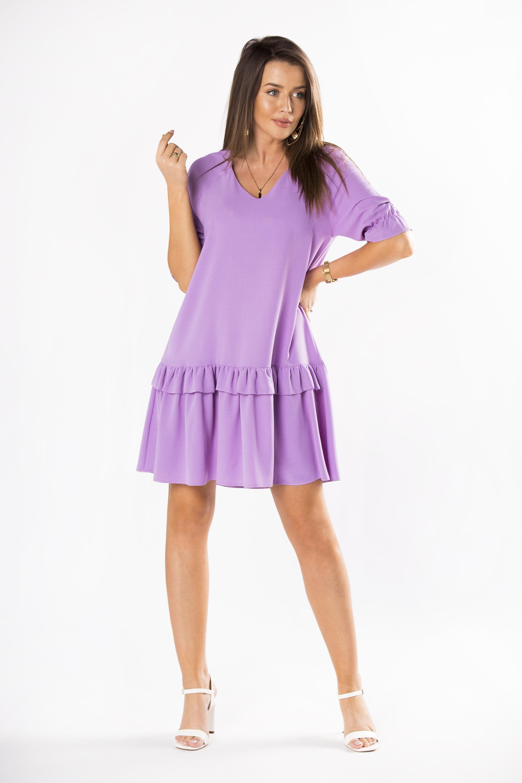 Fialové lichobežníkové šaty s volánikom - 42