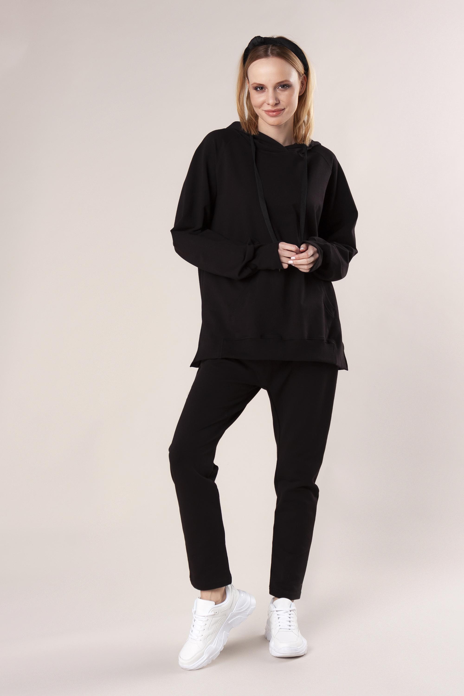 Dámska bavlnená čierna súprava s kapucňou - S/M