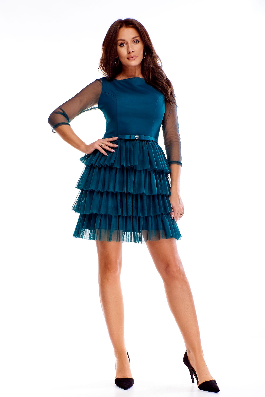 Modré spoločenské šaty s opaskom - 40