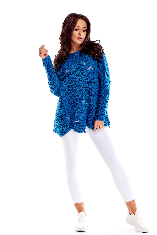 Modrý dámsky sveter s ozdobným prešívaním - S/M