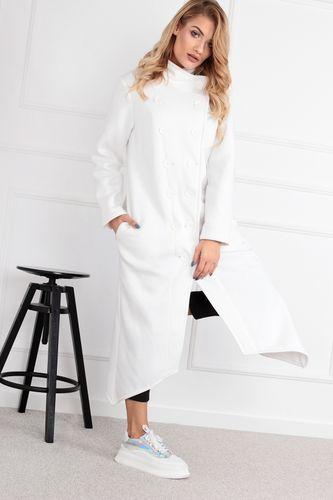 Dlhý smotanovo biely kabát s gombíkmi