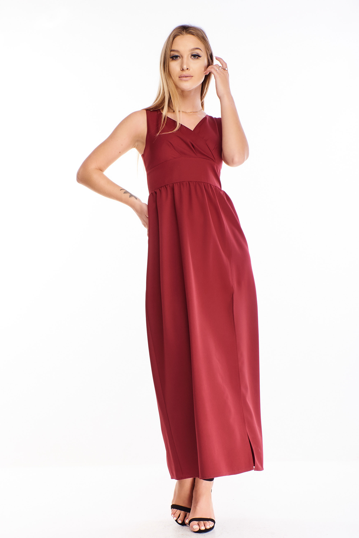 Dlhé plesové šaty v gaštanovej farbe - 44