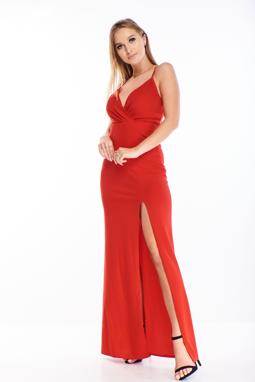 Plesové šaty s rázporkom červené - 34
