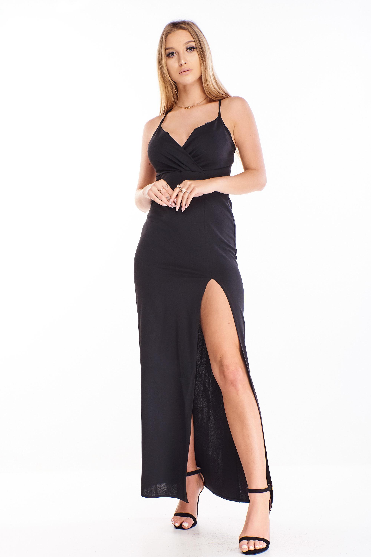 Plesové šaty s rázporkom čierne - 34