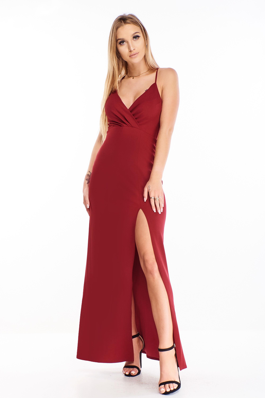 Plesové šaty s rázporkom gaštanové - 34