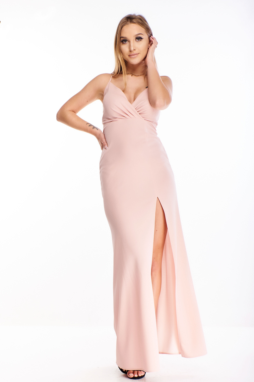 Plesové šaty s rázporkom ružové - 34