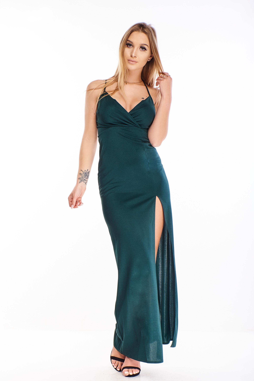 Plesové šaty v zelenej farbe s rázporkom - 34