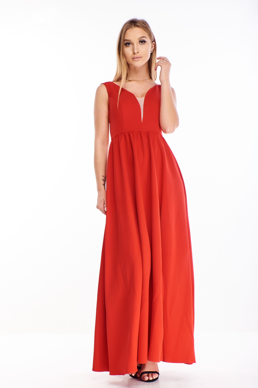 Jednoduché plesové šaty v červenej farbe - 42