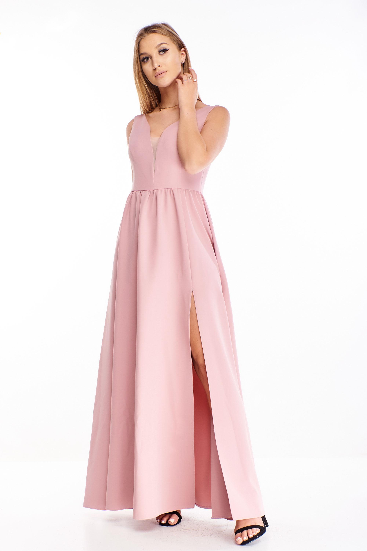 Jednoduché plesové šaty v ružovej farbe - 42