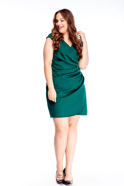 Puzdrové šaty s krátkymi rukávmi zelené - 42