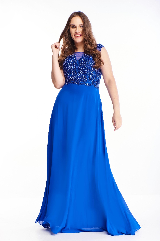 Plesové šaty s vyšívaným vrchom v modrej farbe - 44
