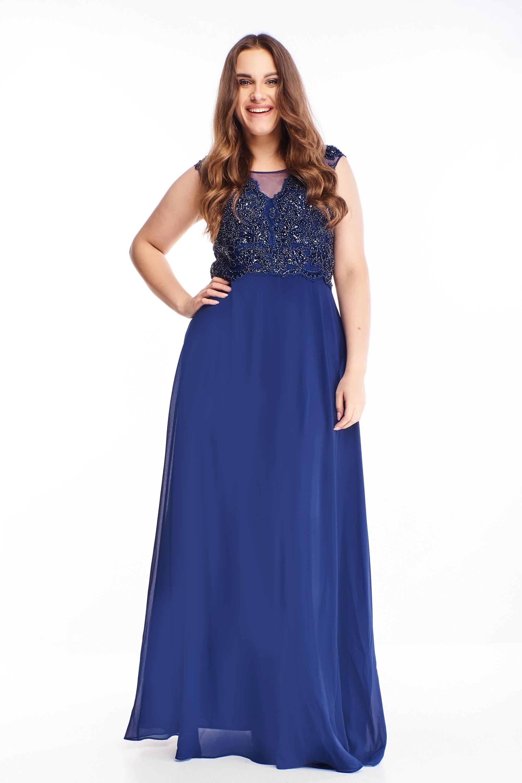 Plesové šaty s vyšívaným vrchom v námorníckej modrej farbe - 44