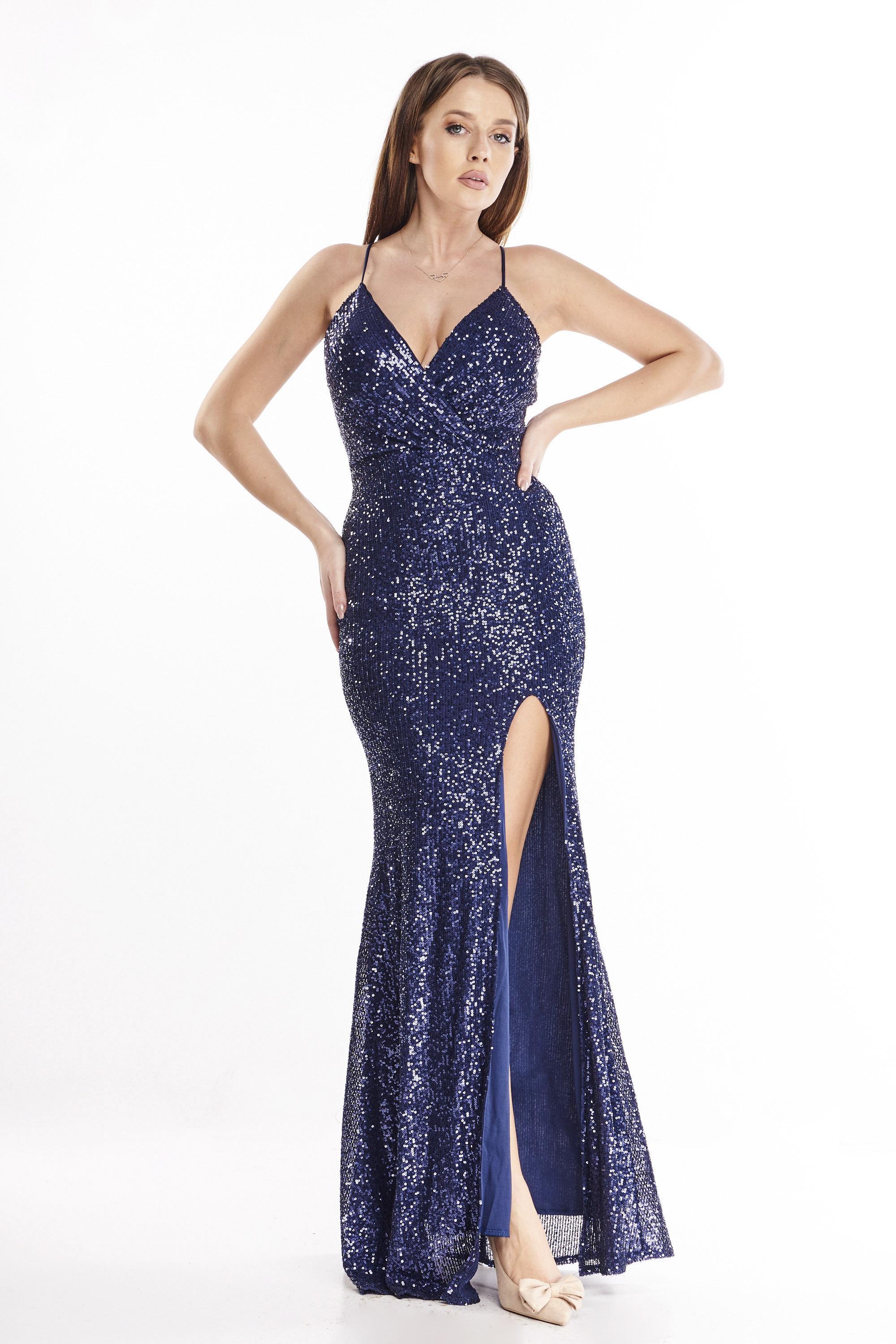 Priliehavé dlhé šaty s rázporkom námornícke modré - 38