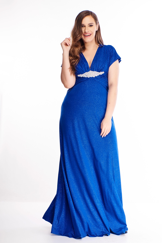 Dlhé spoločenské šaty v modrej farbe