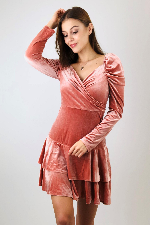 Áčkové krátke šaty s volánmi oranžové - M