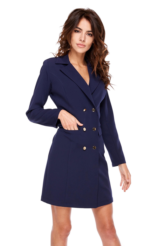 Námornícke modré šaty s ozdobnými gombíkmi - S