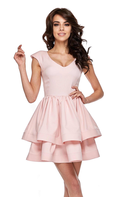 Ružové spoločenské šaty s hlbokým výstrihom - M