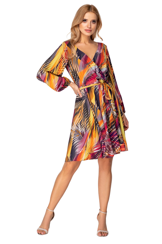 Krátke padavé šaty farebné so šnúrkou na previazanie - 42