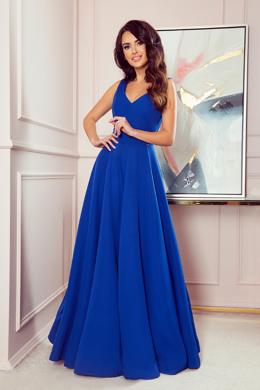 Plesové jednoduché šaty v modrej farbe - XXL