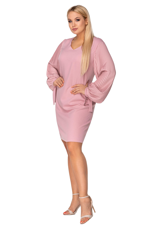 Krátke spoločenské šaty s dlhým rukávom ružové - 48