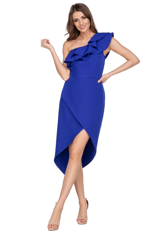 Modré spoločenské šaty s volánom a rozparkom - 40