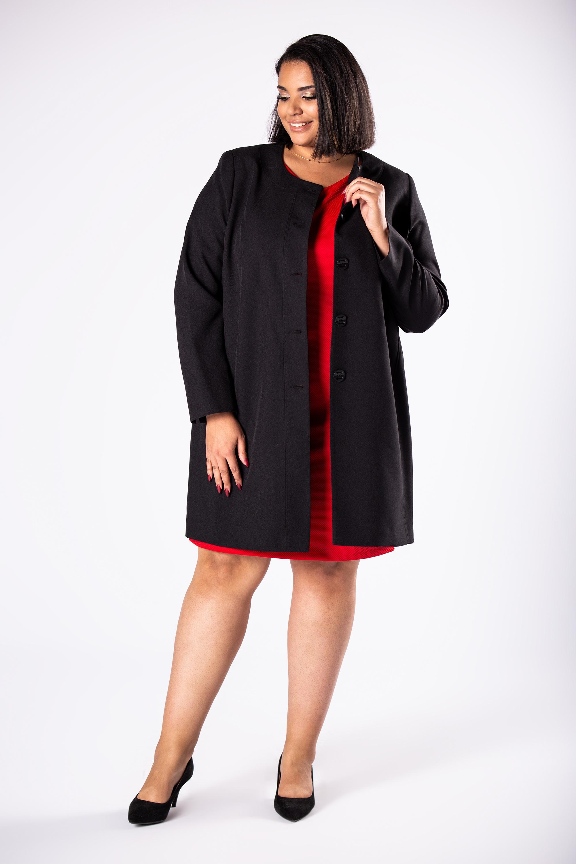 Dámsky čierny kabát na gombíky - 46