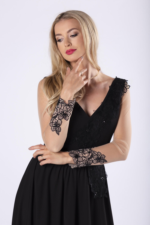 Dlhé čierne spoločenské šaty - XS