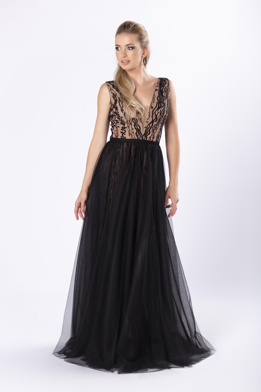 Čierne spoločenské šaty s čipkou a hlbokým výstrihom - 40