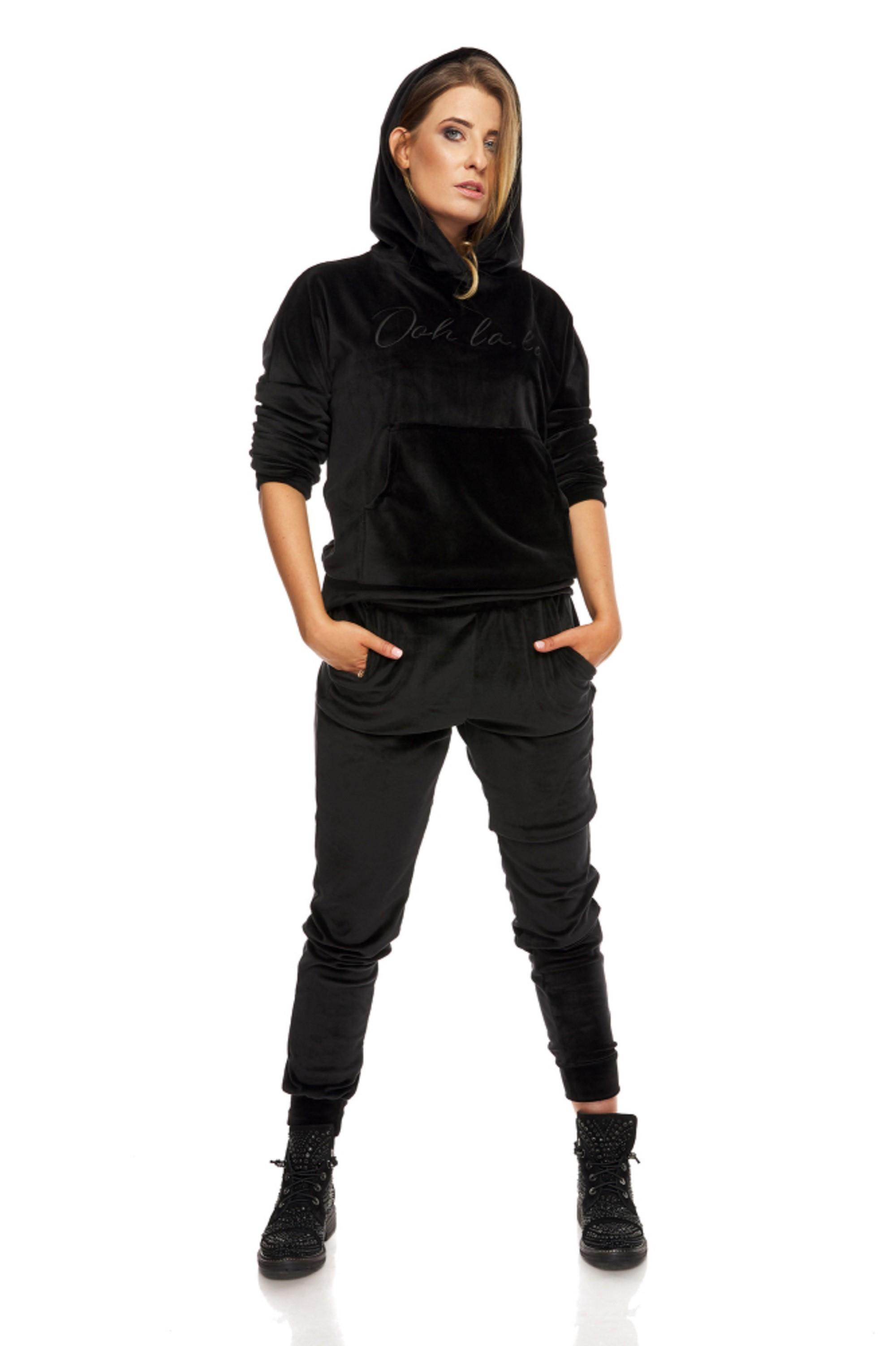 Dámske čierne nohavice s vreckami - M