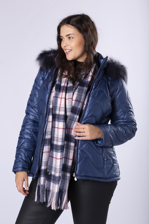 Modrá krátka bunda s kapucňou - 48