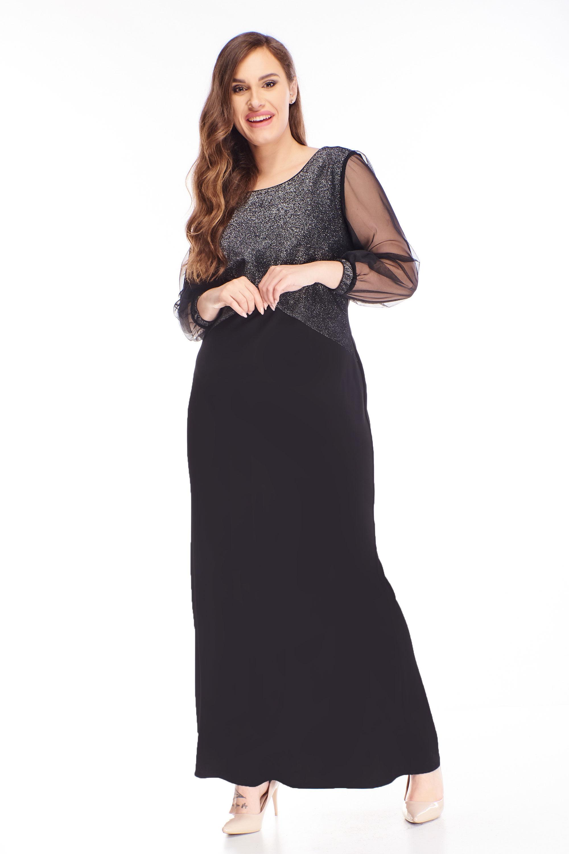 Dlhé plesové šaty s brokátovým topom čierne - 48