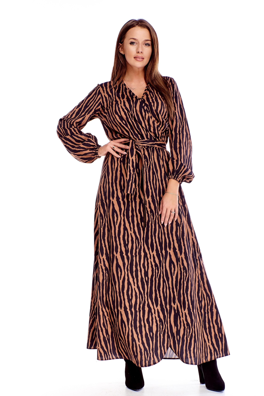 Dámske maxi šaty so zvieracím vzorom