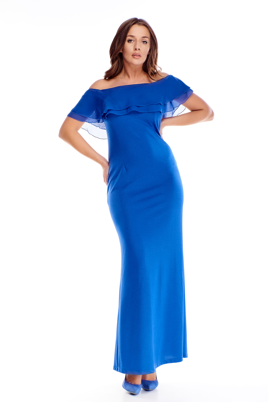 Dlhé dámske šaty s odhalenými ramenami modré - 38