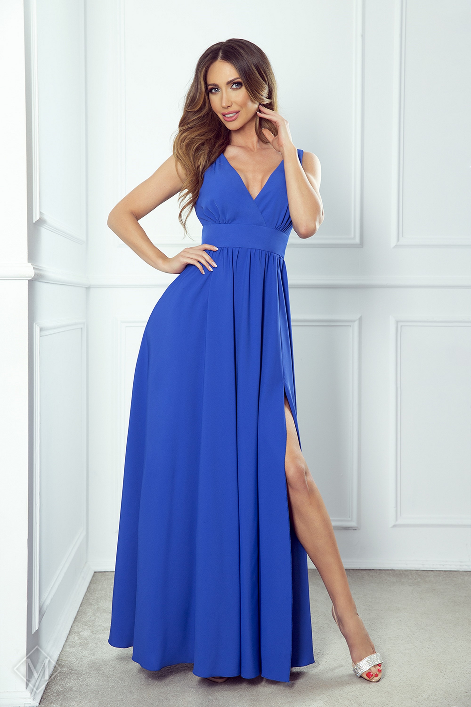 Dlhé plesové šaty s rázporkom modré - 34