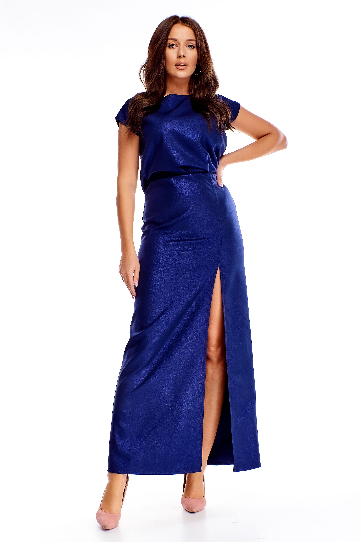 Modré spoločenské maxi šaty - 40