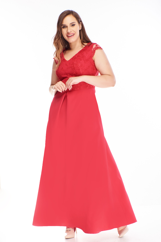 Plesové šaty s vyšívanou vrchnou časťou červené - 44