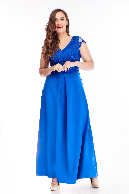 Plesové šaty s vyšívanou vrchnou časťou modré - 44