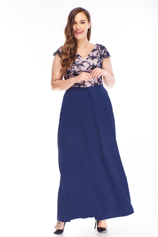 Plesové šaty s vyšívanou vrchnou časťou námornícke modré - 44