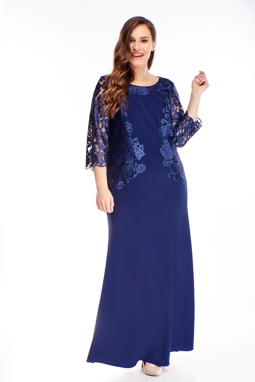 Dlhé plesové šaty s vyšívanou vrchnou časťou námornícke modré - 48