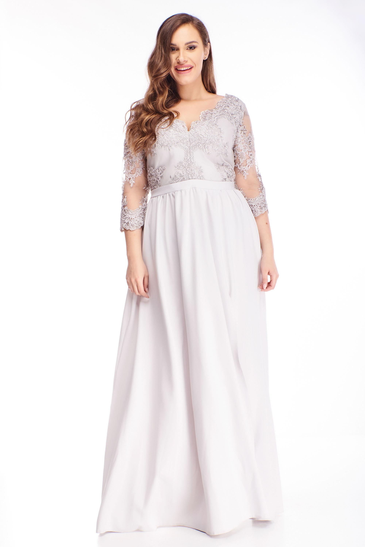 Plesové šaty s vyšívanou vrchnou časťou šedé - 48